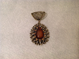 Magic Scarf Gold Tone Almond Shaped Scarf Pendant Large Opaque Brown Stone image 2
