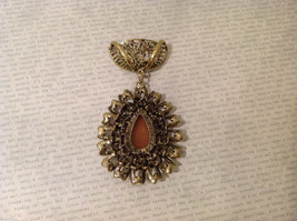 Magic Scarf Gold Tone Almond Shaped Scarf Pendant Large Opaque Brown Stone image 3
