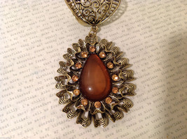 Magic Scarf Gold Tone Almond Shaped Scarf Pendant Large Opaque Brown Stone image 5