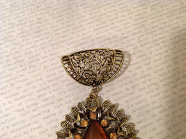 Magic Scarf Gold Tone Almond Shaped Scarf Pendant Large Opaque Brown Stone image 4