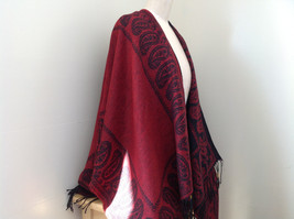Magic Scarf Red and  Black Beautiful Design Shawl with Black Tassels image 4