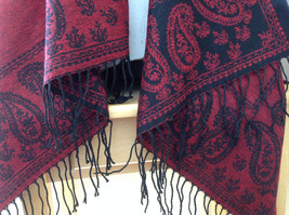 Magic Scarf Red and  Black Beautiful Design Shawl with Black Tassels image 2
