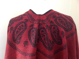 Magic Scarf Red and  Black Beautiful Design Shawl with Black Tassels image 5