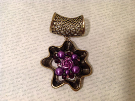 Magic Scarf Gold Tone Flower Shaped Scarf Pendant Purple Crystals and Beads image 3