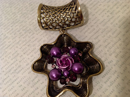 Magic Scarf Gold Tone Flower Shaped Scarf Pendant Purple Crystals and Beads image 4