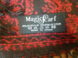 Magic Scarf Red and  Black Beautiful Design Shawl with Black Tassels image 6