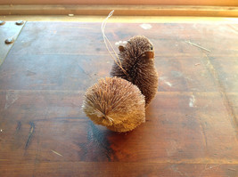 Palm Fiber Gray Squirrel with Nut  Brush Ornament  Eco Fiber Sustainable image 4