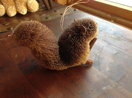 Palm Fiber Gray Squirrel with Nut  Brush Ornament  Eco Fiber Sustainable image 3