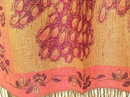 Peacock Design Dark Pink Gold Reversible Shawl Scarf by Magic Scarf image 5
