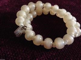 Pearlescent Glass translucent white Memory Wire Bracelet Handmade Lampwork image 4
