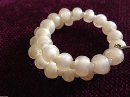 Pearlescent Glass translucent white Memory Wire Bracelet Handmade Lampwork image 2