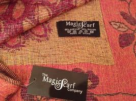 Peacock Design Dark Pink Gold Reversible Shawl Scarf by Magic Scarf image 7