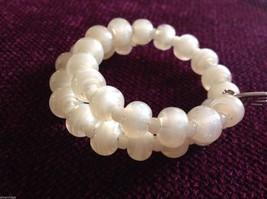 Pearlescent Glass translucent white Memory Wire Bracelet Handmade Lampwork image 3