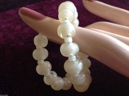 Pearlescent Glass translucent white Memory Wire Bracelet Handmade Lampwork image 6