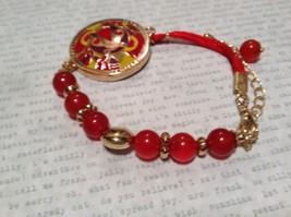 Mandala Ladybug Red Beads Marcella Bracelet Love Fortune Balance Gold Tone  image 4