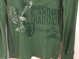 Mens American Eagle Green White Eagle design cotton long sleeve T-shirt, Size M image 3
