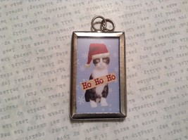 Meowy Christmas Charm Present Tie On Versatile Reversible Tag Metal Glass Tag image 2