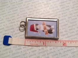 Meowy Christmas Charm Present Tie On Versatile Reversible Tag Metal Glass Tag image 3