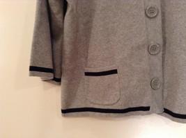 Mercer Street Studio Gray Cardigan Black Trim Stripe Snap Closure Size PL image 4