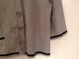 Mercer Street Studio Gray Cardigan Black Trim Stripe Snap Closure Size PL image 5
