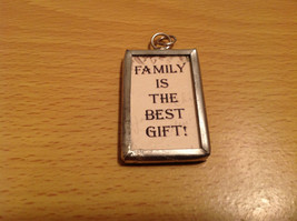 Metal and Glass Tag Charm Present Tie On Reversible Versatile Family is the Best image 2