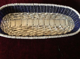 Metal Woven Basket Silver metal and Blue Beads Along Sides image 3
