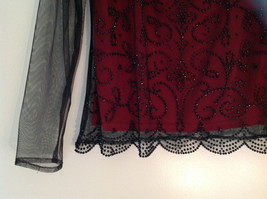 Metaphor Black Mesh Red Background Swirly Beaded Long Sleeve Shirt Size Medium image 3