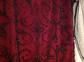 Metaphor Black Mesh Red Background Swirly Beaded Long Sleeve Shirt Size Medium image 5