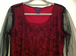 Metaphor Black Mesh Red Background Swirly Beaded Long Sleeve Shirt Size Medium image 2