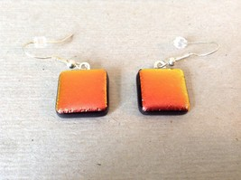 Metallic Orange Red Black Square Shaped Glass Dangling Earrings image 2
