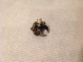 Metal with Patina Gold Tone Ring with Dangling Square Boxes Adjustable Size image 3