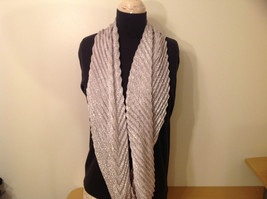 Metallic Pleated Infinity Scarf Light Gray Metallic Thread 100 Percent Polyester image 2