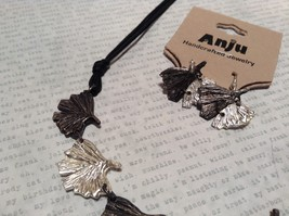 Pewter Necklace Earring Silver w Oxidized Ginkgo Leaf Vintage Look Handcrafted image 3