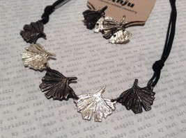 Pewter Necklace Earring Silver w Oxidized Ginkgo Leaf Vintage Look Handcrafted image 2