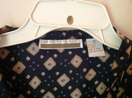 Perry Ellis Size Medium Silk Short Sleeve Shirt Dark Blue with Brown Diamonds image 3