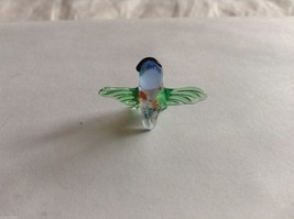 Micro Miniature small hand blown glass made USA NIB green & blue owl image 2