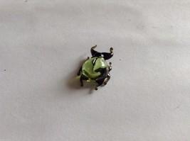 Micro Miniature small hand blown glass made USA light green w black beetle image 2