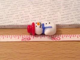 Micro miniature hand blown glass Snowman With Red Hat Christmas  USA NIB image 8