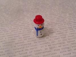 Micro miniature hand blown glass Snowman With Red Hat Christmas  USA NIB image 6