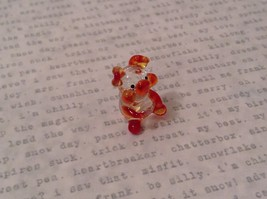 Micro miniature hand blown glass figurine  USA NIB clear pig w color accents image 2