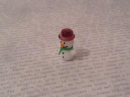 Micro miniature hand blown glass Snowman With Purple Hat Christmas  USA NIB image 2