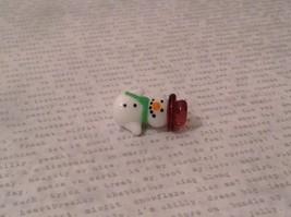 Micro miniature hand blown glass Snowman With Purple Hat Christmas  USA NIB image 3