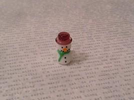 Micro miniature hand blown glass Snowman With Purple Hat Christmas  USA NIB image 7