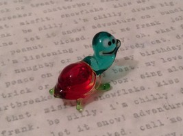 Micro miniature hand blown glass figurine USA blue green w red shell turtle NIB image 6