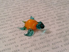 Micro miniature hand blown glass figurine blue turtle with orange shell USA NIB image 6