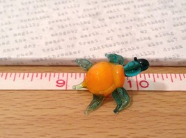 Micro miniature hand blown glass figurine blue turtle with orange shell USA NIB image 7