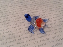 Micro miniature hand blown glass figurine clear turtle w color accents USA NIB image 4