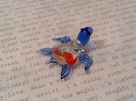 Micro miniature hand blown glass figurine clear turtle w color accents USA NIB image 6