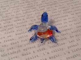 Micro miniature hand blown glass figurine clear turtle w color accents USA NIB image 5