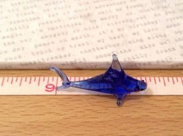 Micro miniature hand blown glass figurine cobalt blue sailfish or shark USA NIB image 8
